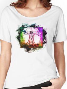 Colorful Grunge Vitruvian Man - Leonardo Da Vinci Tribute Art T Shirt - Stickers Women's Relaxed Fit T-Shirt