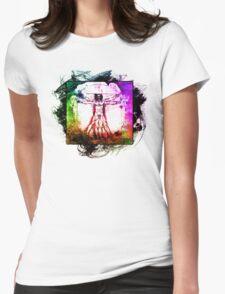 Colorful Grunge Vitruvian Man - Leonardo Da Vinci Tribute Art T Shirt - Stickers Womens Fitted T-Shirt