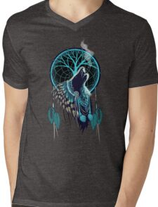 Wolf Indian Shaman Mens V-Neck T-Shirt