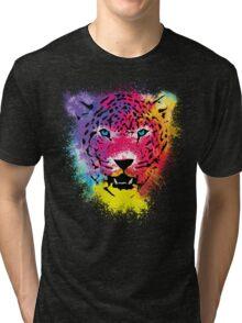 Tiger - Colorful Paint Splatters Dubs Tri-blend T-Shirt