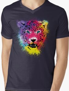 Tiger - Colorful Paint Splatters Dubs - T-Shirt Stickers Art Prints Mens V-Neck T-Shirt