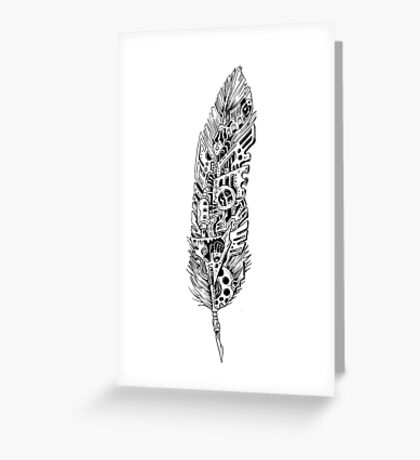 Mechanical Feather Greeting Card