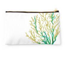 Aqua and Gold Coral Studio Pouch