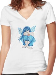 Sky Blue Fairy Women's Fitted V-Neck T-Shirt