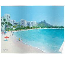 Waikiki beach, Honolulu, Hawaii Poster