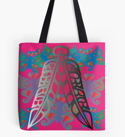 Heiltsuk Eagle & Raven Feathers Surrounded by Butterflies Tote Bag