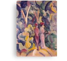 Vintage famous art - August Macke - Couple On The Forest Track Canvas Print