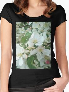 Painted White Petals Women's Fitted Scoop T-Shirt