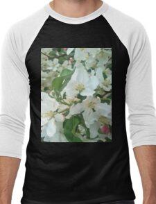 Painted White Petals Men's Baseball ¾ T-Shirt