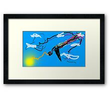 Motorized TV Bird Shooting Lightning with rainbow Framed Print