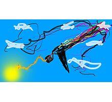 Motorized TV Bird Shooting Lightning with rainbow Photographic Print