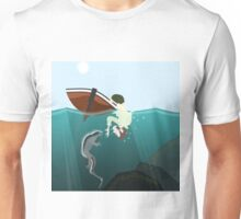 Darwin meets a marine iguana Unisex T-Shirt