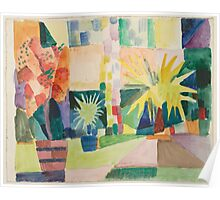 Vintage famous art - August Macke - Garden On Lake Thun (Pomegranate Tree And Palm In The Garden) Poster