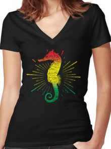 Seahorse with Reggae Music Flag Colors! Women's Fitted V-Neck T-Shirt