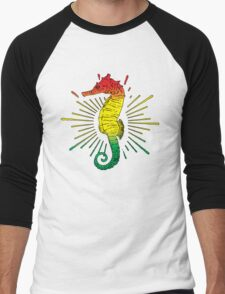 Seahorse with Reggae Music Flag Colors! Men's Baseball ¾ T-Shirt