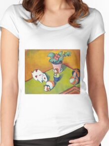 Vintage famous art - August Macke - Little Walter S Toys Women's Fitted Scoop T-Shirt