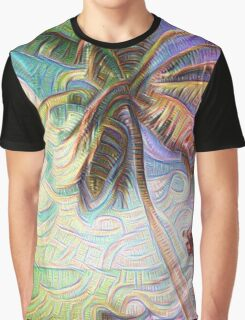 Abstract Rainbow Palm Tree Graphic T-Shirt
