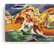 Vintage famous art - August Macke - Native Sea Fight Canvas Print
