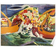 Vintage famous art - August Macke - Native Sea Fight Poster
