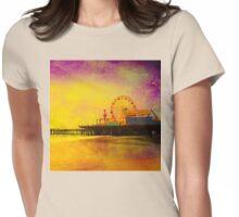 Yellow Purple Santa Monica Pier Womens Fitted T-Shirt