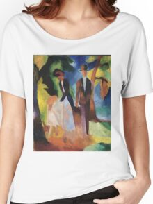 Vintage famous art - August Macke - People By The Blue Lake Women's Relaxed Fit T-Shirt