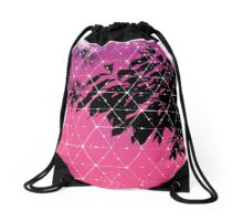 Nature and Geometry - Leaves at Sunrise Drawstring Bag