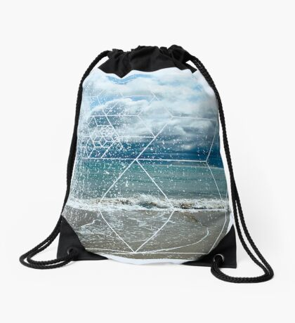 Nature and Geometry - The beach Drawstring Bag