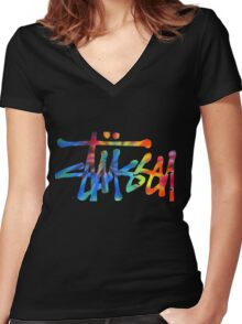 Stussy Colorful Logo Women's Fitted V-Neck T-Shirt