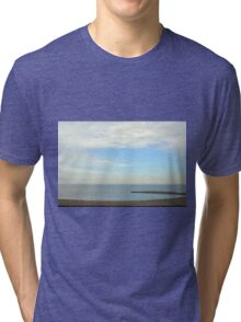 Beautiful day at the beach with white cloudy sky. Tri-blend T-Shirt