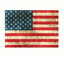 Vintage Aged and Scratched American Flag Art Print