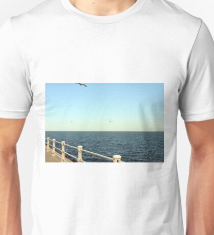 Promenade by the sea with handrail and seagulls. Unisex T-Shirt