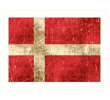 Vintage Aged and Scratched Danish Flag Art Print