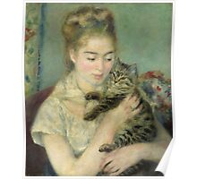 Vintage famous art - Piere Auguste Renoir - Woman With A Cat Poster