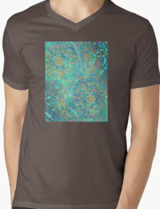 Sapphire & Jade Stained Glass Mandalas Mens V-Neck T-Shirt