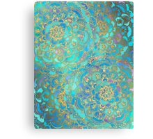 Sapphire & Jade Stained Glass Mandalas Canvas Print
