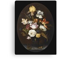Vintage famous art - Balthasar Van Der Ast  - Still Life Of Flowers In A Glass Vase 1624  Canvas Print