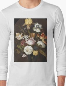 Vintage famous art - Balthasar Van Der Ast  - Still Life Of Flowers In A Glass Vase 1624  Long Sleeve T-Shirt