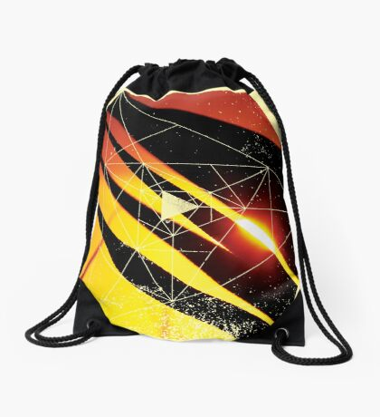 Nature and Geometry - Leaves and Sunset Drawstring Bag