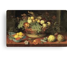 Vintage famous art - Balthasar Van Der Ast  - Still Life With Basket Of Fruit Canvas Print