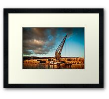 An old crane in the port of Trieste Framed Print