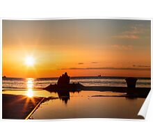 couple watching a romantic sunset Poster