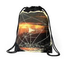 Nature and Geometry - Sunset and Mountains Drawstring Bag