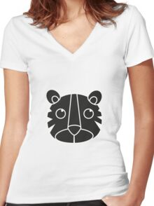 cute animal in black  Women's Fitted V-Neck T-Shirt
