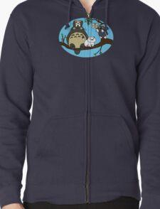 Totoro X Neko Atsume Zipped Hoodie