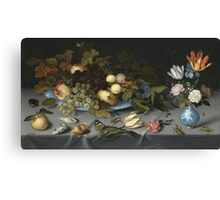 Vintage famous art - Balthasar Van Der Ast  - Still Life With Fruits And Flowers Canvas Print