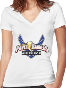 mighty mhorpin power rangers air force Women's Fitted V-Neck T-Shirt