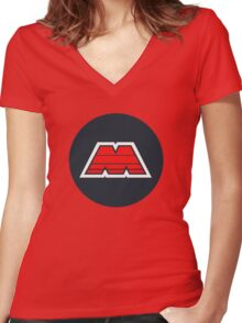 M-Tron Logo Women's Fitted V-Neck T-Shirt