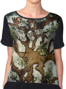 In the Woodland Treetops - Tree, Squirrel, Nest, Bird, Forest, Woodpecker, Leaves Chiffon Top