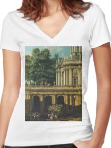 Vintage famous art - Bernardo Bellotto  - Architectural Caprice With A Palace 1765 Women's Fitted V-Neck T-Shirt