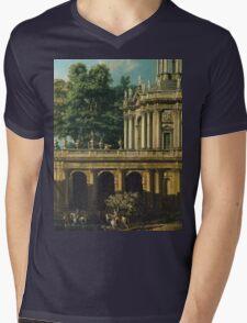 Vintage famous art - Bernardo Bellotto  - Architectural Caprice With A Palace 1765 Mens V-Neck T-Shirt